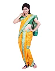 ISHIN 8 Meter Ready to wear Navari Polly silk Yellow Saree