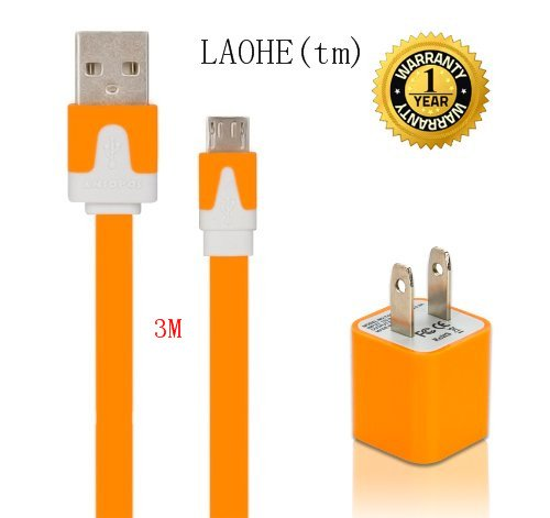 Laohe(Tm) Diy High Speed Usb Ac Wall Charger With Extra Long 10Feet 3M Noodle Flat Micro Usb Sync Cable Cord For Google Nexus Samsung Galaxy Tab, Samsung Galaxy Note/S3/S4, Htc, Lg And Most Android Tablets/Phones, And Windows Phones-Orange