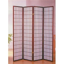 "Lowest Price! 4 Panel Shoji Screen Room Divider, Cherry Finish (Cherry) (71""h X 70""w)"