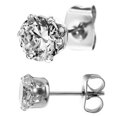 316L Surgical Stainless Steel 1.00 ct Stud Earring with 5mm Round Clear CZ