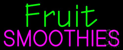 """Fruit Smoothies Neon Sign 13"""" Tall X 32"""" Wide X 3"""" Deep front-602004"""