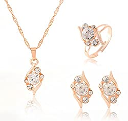 Sorella'z Clear White Crystal Golden Jewellery Set for Women's