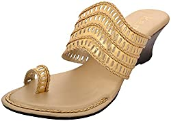 k.a.n Womens Gold Synthetic Wedge (Ksw 86_G_7, Size - 7 Uk)