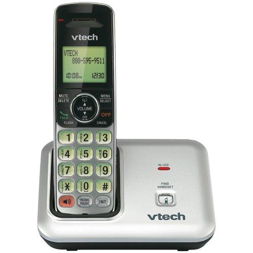 VTech CS6419 DECT 6.0 Cordless Phone, Black/Silver, 1 Handset
