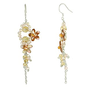 Brown Pearl Shell & Crystal Flowers & Tassels Dangle Earrings