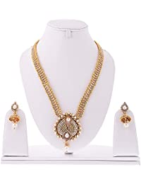 Zeneme Traditional Gold Plated Long Necklace Set With Earring For Women