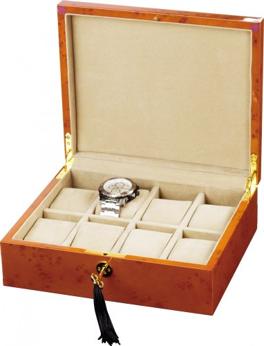 Auer Accessories Alope 038BB Watch Box For 8 Watches Blond Burlwood