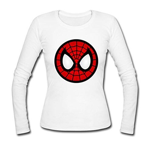 Women Spiderman Mask Long Sleeve Tees Shirts Tshirt Medium White