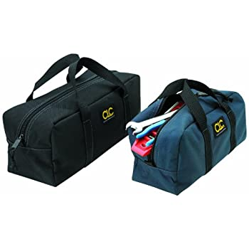Toolworks Soft side tool carrier bags. 2 bag combo, One 12-Inch x 4-1/2-Inch x 5-1/2-Inch and One 14-Inch x 5-1/2 inch x 6-Inch. Nylon reinforced bottom panels. Separates and organizes small parts and hand tools. Strong black web carry handles. CLC C...