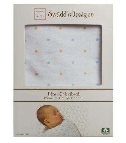SwaddleDesigns Cotton Flannel Fitted Crib Sheet, Gold Little Dots - 1