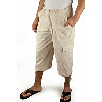 Cotton beach bermuda shorts in natural