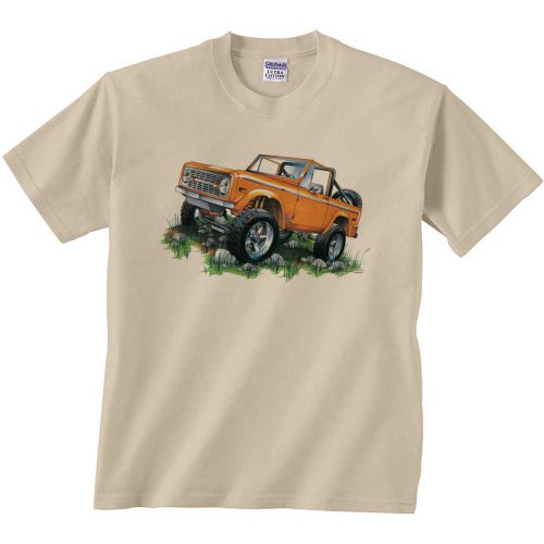 Fair Game Ford T-Shirt Classic Ford Orange Bronco 4-Wheeler Truck Off Road Truck 4 X 4 Tee Shirt-Sand-Adult Large