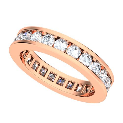 18k Rose Gold Channel set Diamond Eternity Wedding Band Ring (GH/VS, 1 1/2 ct.)