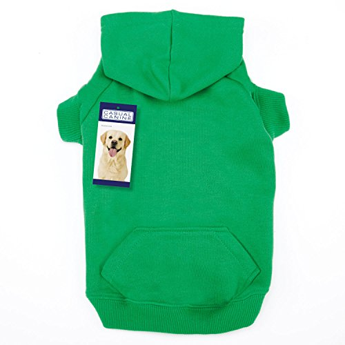 Casual Canine 12-Inch Cotton Basic Dog Hoodie, Small, Green