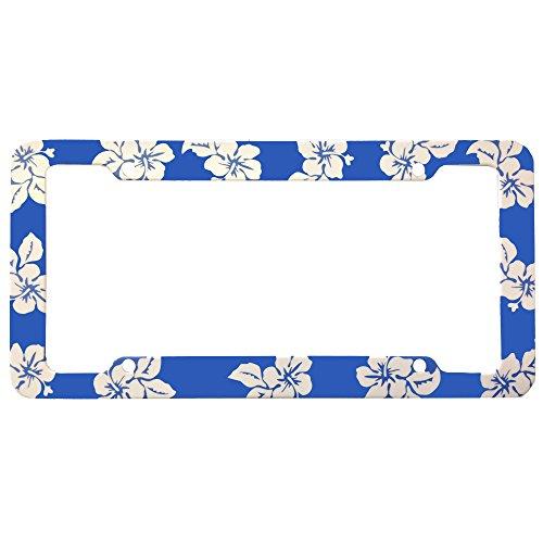 Blue Hawaiian Hawaii Aloha Print with White Hibiscus Flowers Wild Series Car Truck SUV Plastic License Plate Frame (License Plate Frame Hibiscus compare prices)
