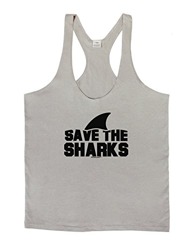 TooLoud Save The Sharks - Fin Mens String Tank Top - Light Gray - XL (Light Film Shark Tank compare prices)