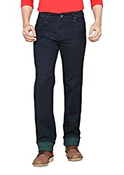 Dragaon Men's Silky Chinos Stretchable Relaxed Fit Jeans-Green-D-2605-Size-36