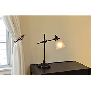 Light Accents Antique Style Desk Lamp with Black with Gold Trim and Frosted White Glass Shade Desk Light