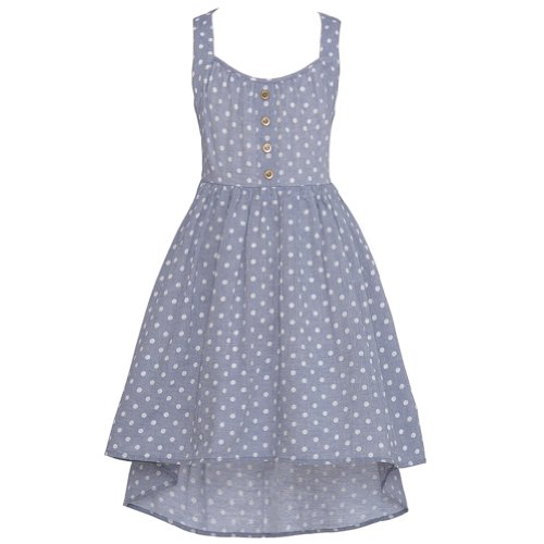 Tween Diva Chambray Dot Lace Accent Hi Lo Summer Dress Girl 12 front-673321