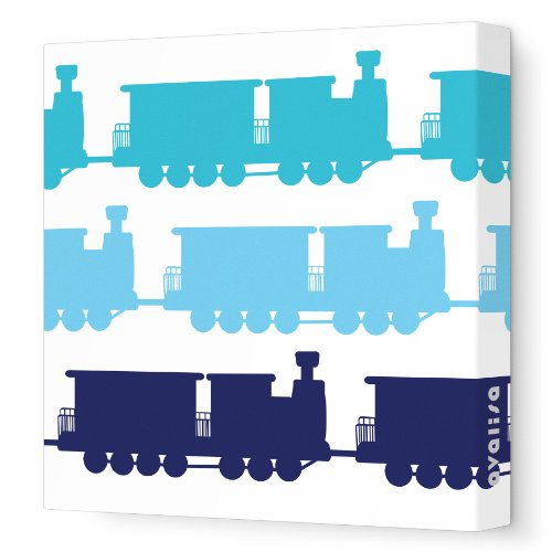 "Avalisa Stretched Canvas Nursery Wall Art, Train, Blue Hue, 18"" x 18"""