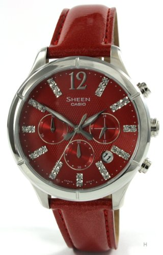 Casio Sheen SHE-5020L-4AEF Ladies Watch Chronograph Leather Strap