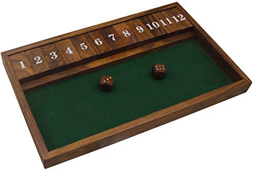 Fatti a mano in legno chiudere la scatola del gioco 12 numeri con 2 dadi - viaggio vintage chiudere la partita scatola -33 x 20.2 x 2.5 cm