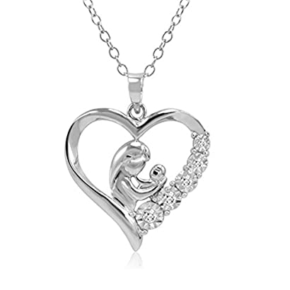 Sterling Silver Blessed Mary and Child Jesus Charm on a Sterling Silver Chain Necklace 16-20