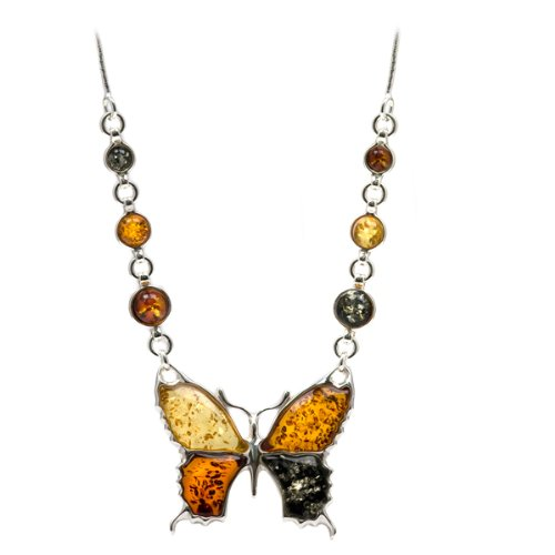 Multicolor Amber and Sterling Silver Butterfly Necklace, 18.5