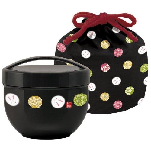 Temari rabbit drawstring caf with bowl lunch box (black) KPDN6 (japan import)