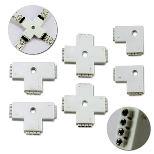 """Zitrades 6Pcs Mixed Connector 2Pcs L-Shape(4Pin 2Way)+2Pcs T-Shape+2Pcs(4Pin 3Way) """"+"""" Shape 360 Degree Corner (4Pin 4Way) Hard Plastic Housing To Led Strip Lights 3528 5050 Link Connection By Zitrades"""
