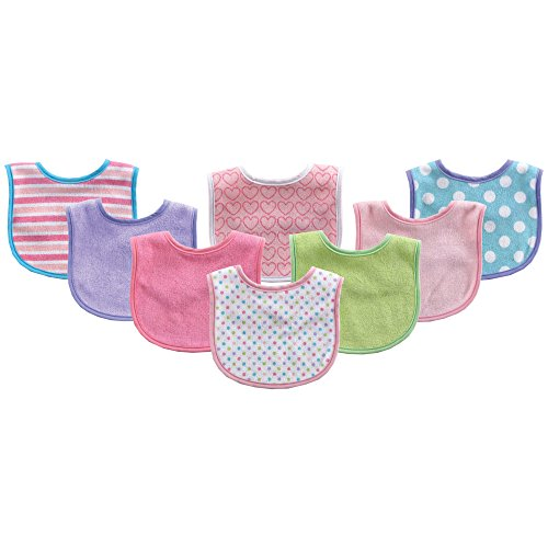 Luvable Friends 8 Piece Drooler Baby Bibs, Light Pink