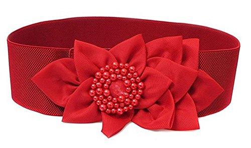 King Ma Women Fashion Textured Band Elastic Cinch Waist Belt (Red)