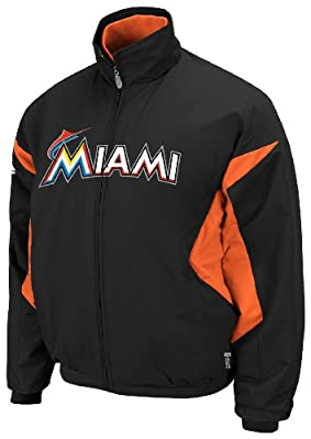 MLB Miami Marlins Triple Peak Premier Black Fire Red Long Sleeve Full Zip Insulated Youth Jacket, Black Fire Red