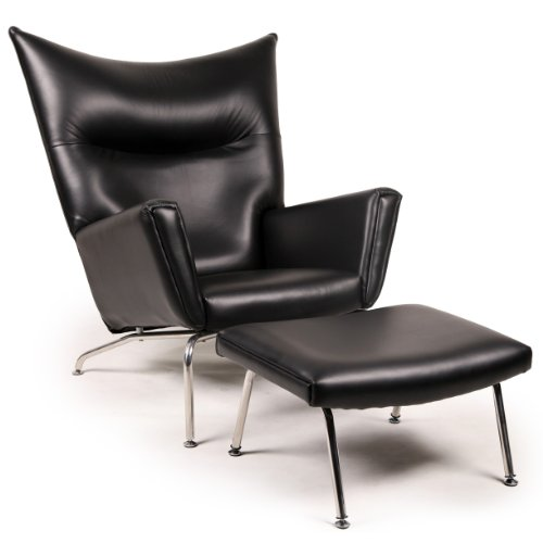 Amazing Kardiel Hans J Wegner Style Ch445 Wing Chair Ottoman Black Caraccident5 Cool Chair Designs And Ideas Caraccident5Info