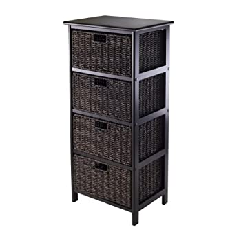 Winsome Omaha Storage Rack with 4-Foldable Basket