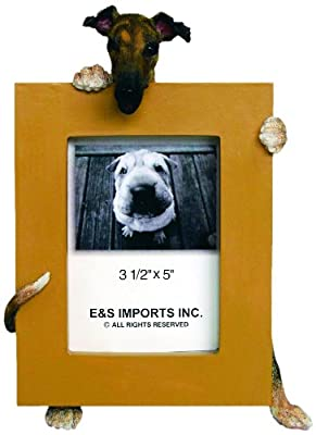 Black Greyhound Picture Frame Holds Your Favorite 2.5 by 3.5 Inch Photo, Hand Painted Realistic Looking Greyhound Stands 6 Inches Tall Holding Beautifully Crafted Frame, Unique and Special Greyhound Gifts for Greyhound Owners