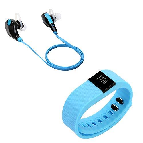 Smart Bracelet + Écouteur Bluetooth, OSAN Sport Smart Bracelet Bluetooth Sport Tracker d'Activités/Sommeil(Etanche) + Écouteur Bluetooth 4.0 sans fil Stéréo Sport avec Microphone intégré-Bleu