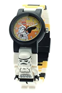 LEGO Star Wars Storm Trooper Minifigure Children's Quartz Watch with Yellow Dial Analogue Display and Multicolour Plastic Link Strap 9004339