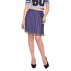 Vvoguish Corporate Wear Nylon Solids Blue Skirt-VVSK825BLU-M