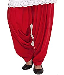 Shiva Collections Women's Cotton Patiala Salwar (scs1004_Red_Free Size)