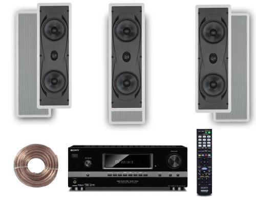 """Sony Hd Digital Cinematic Sound 700 Watts 7.1 Channel 3D A/V Receiver + Yamaha Natural Sound Custom Install In-Wall 2-Way 130 Watts Speaker (Set Of 3) With 1"""" Soft Dome Tweeter & Dual 6.5"""" Cone Woofers + 100Ft 16 Awg Speaker Wire"""