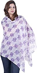 Exotic India Ivory and Violet Printed Stole - Ivory