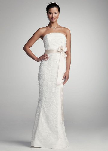 f13fe88b714 Top David s Bridal Wedding Dress  Strapless Ruched Mermaid Gown with Sash  Style 49177D