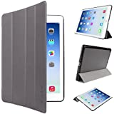EasyAcc à Housse etui en Simili-Cuir Ultra Slim pour iPad Air Enclenche ou Désenclenche La Veille de l'iPad avec Fonction de Stand -Gris