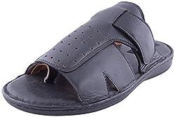 Weaver Bird Mens Black Leather Sandals-9