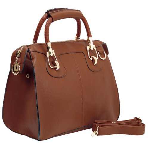 MG Collection Marissa Top Double Handle Doctor Shoulder Bag, Brown, One Size