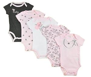 Calvin Klein Infant Girls Light Pink & Gray 5pc Bodysuit Set