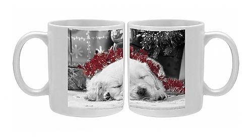 Photo Mug Of Golden Retriever Dog - Puppy Asleep Under Christmas Tree front-585201