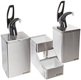 """San Jamar P4826 Stainless FrontLine Countertop Dual Condiment System, 20-1/8"""" Width x 20-1/4"""" Height x 12"""" Depth, Black"""