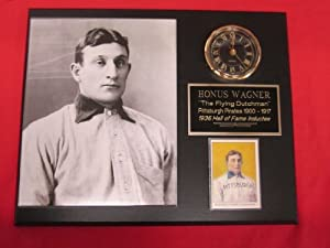 Honus Wagner Pittsburgh Pirates Collectors Clock Plaque w 8x10 RARE T206 Photo and... by J & C Baseball Clubhouse